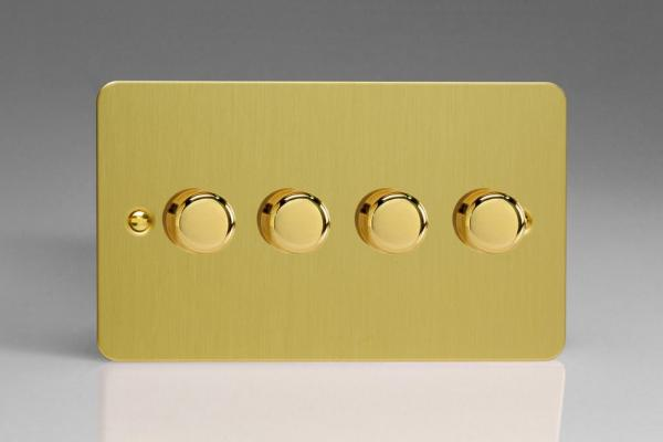 Varilight V-Pro Series 4 Gang 0-120W Trailing Edge LED Dimmer Ultra Flat Brushed Brass