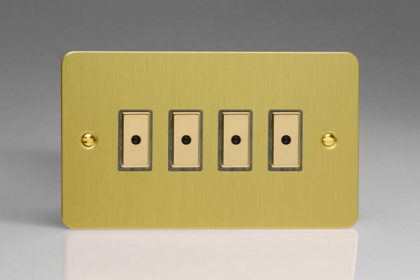 JFBE104 - Varilight V-Pro Series Eclique2  (Multi Point Remote), 4 gang Intelligent Programmable Master Dimmer, with Tactile Touch Button and Integrated Remote Control Sensor 0-100 Watts of LEDs (10 LEDs Max), Ultra Flat Brushed Brass Effect