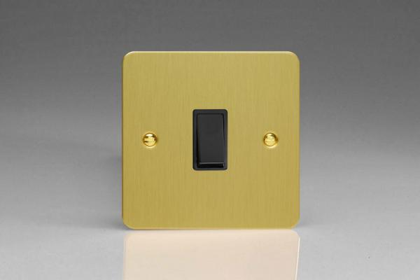 Varilight 1 Gang 10 Amp Push-to-make, Bell Push, Retractive Black Switch Ultra Flat Brushed Brass