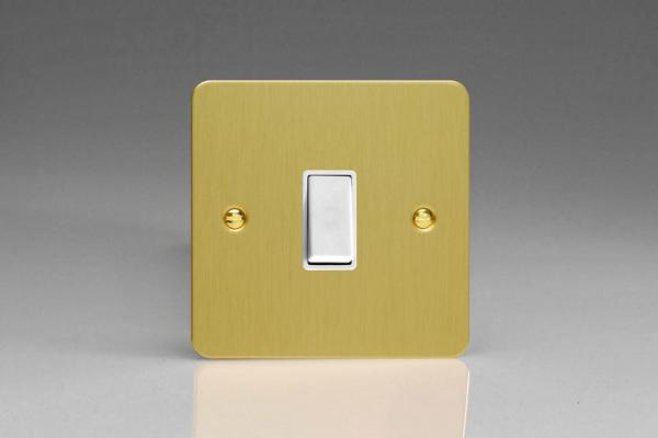 XFBBPW Varilight 1 Gang (Single), 1 Way, 10 Amp Retractive Switch (Bell and Blind Switch), Ultra Flat Brushed Brass Effect