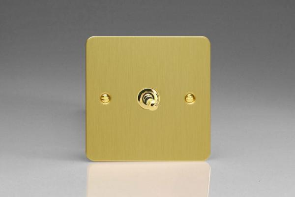 XFBT1 Varilight 1 Gang (Single), 1 or 2 Way 10 Amp Classic Toggle Switch, Ultra Flat Brushed Brass Effect