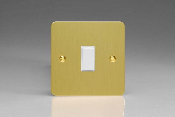 XFB20W Varilight 1 Gang (Single), 20 Amp Double Pole Switch, Ultra Flat Brushed Brass Effect