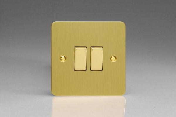 Varilight 2 Gang Comprising of 1 Intermediate (3 Way) and 1 Standard (1 or 2 Way) 10 Amp Switch Ultra Flat Brushed Brass