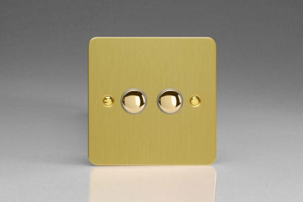XFBM2 Varilight 2 Gang (Double), 1 Way, 6 Amp  Retractive/Momentary Switch (Push To Make), Ultra Flat Brushed Brass Effect
