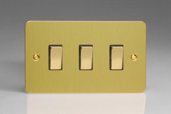 XFB93D Varilight 3 Gang (Triple), 1or 2 Way 10 Amp Switch, Ultra Flat Brushed Brass Effect (Double Plate)