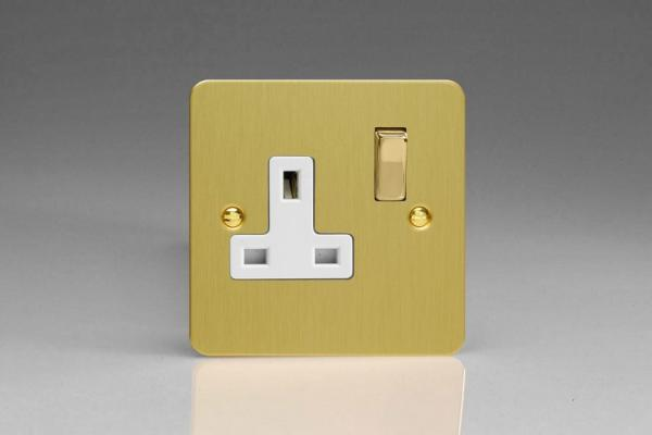 XFB4DW Varilight 1 Gang (Single), 13 Amp Switched Socket, Ultra Flat Brushed Brass Effect
