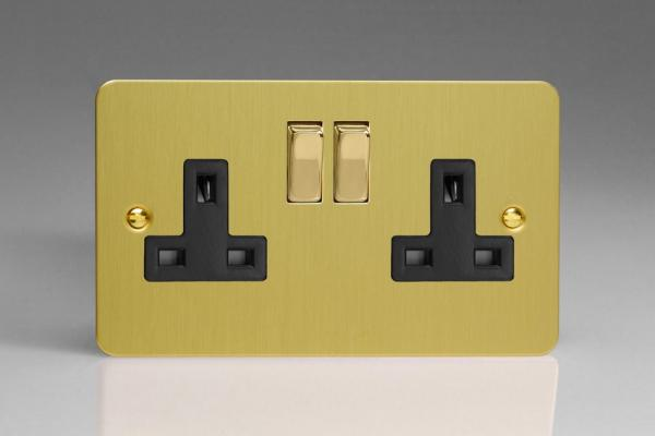 XFB5DB Varilight 2 Gang (Double), 13 Amp Switched Socket, Ultra Flat Brushed Brass Effect
