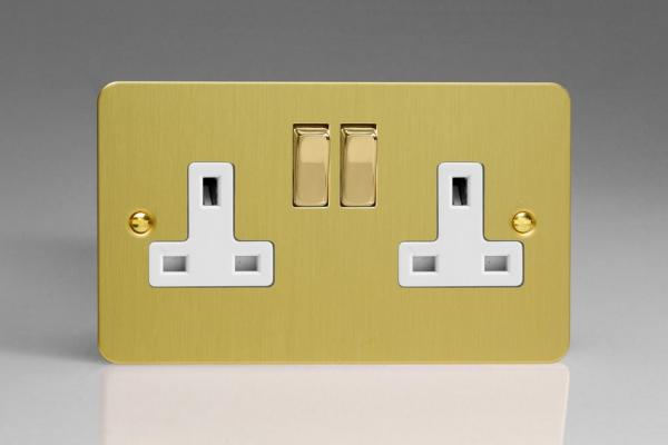XFB5DW Varilight 2 Gang (Double), 13 Amp Switched Socket, Ultra Flat Brushed Brass Effect