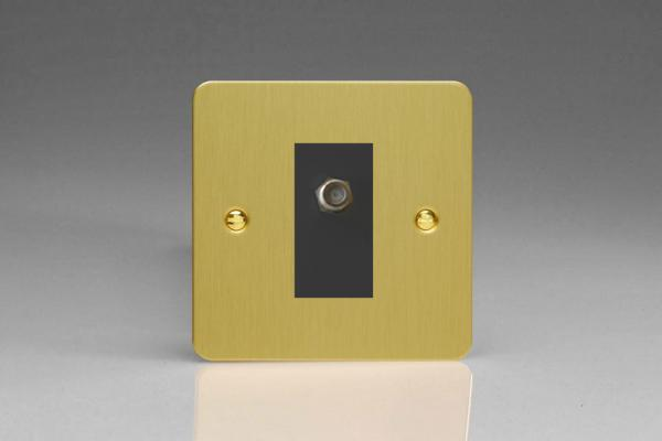 XFBG8SB Varilight 1 Gang (Single), Satellite TV Socket, Ultra Flat Brushed Brass Effect with Black insert