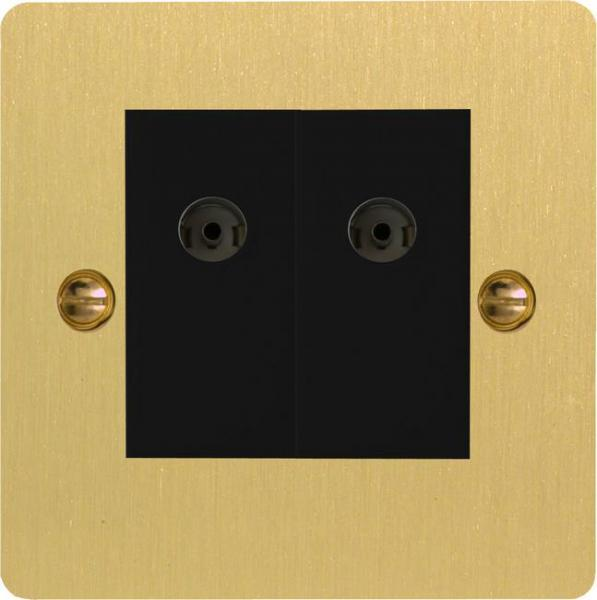 XFBG88BS Varilight 2 Gang (Double), Co-axial TV Socket, Ultra Flat Brushed Brass