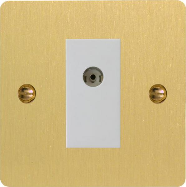 XFBG8ISOW Varilight 1 Gang (Double), Isolated Co-axial TV Socket, Ultra Flat Brushed Brass Effect