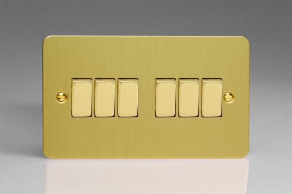 XFB96D Varilight 6 Gang 1or 2 Way 10 Amp Switch, Ultra Flat Brushed Brass Effect (Double Plate)
