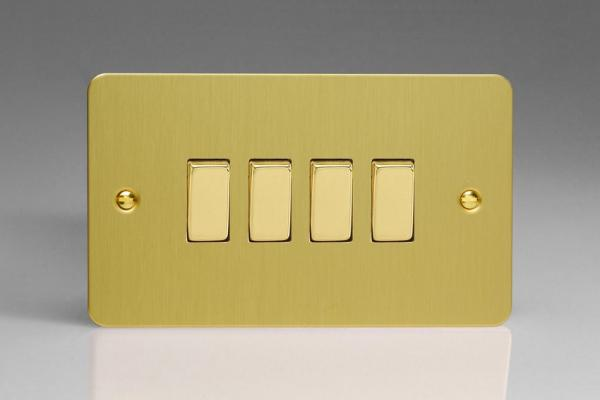 XFB9D Varilight 4 Gang (Quad), 1or 2 Way 10 Amp Switch, Ultra Flat Brushed Brass Effect (Double Plate)