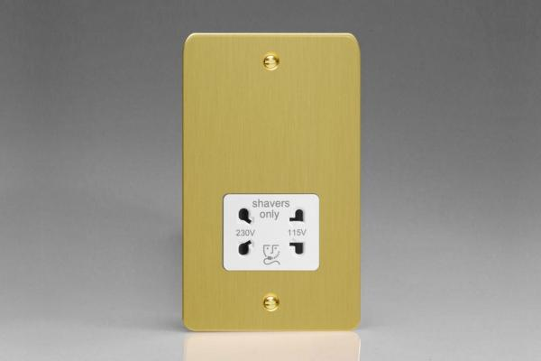 XFBSSW Varilight Dual Voltage Shaver Socket, Ultra Flat Brushed Brass Effect