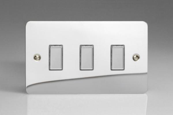 Varilight V-Pro Multi Point Tactile Touch Slave (MP Slave) Series 3 Gang Unit for use with V-Pro Multi Point Remote Master Dimmers Ultra Flat Polished Chrome