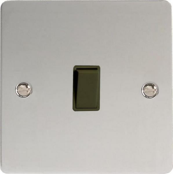 XFCBPB Varilight 1 Gang (Single), 1 Way, 10 Amp Retractive Switch (Bell and Blind Switch), Ultra Flat Polished Chrome