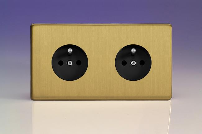 XEB44FB Varilight European 2 Gang (Double), Euro (Pin Earth) Flush Design Socket, Dimension Screwless Brushed Brass (Double Plate)