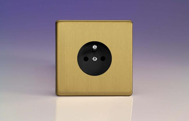XEB4FB Varilight European 1 Gang (Single), Euro (Pin Earth) Flush Design Socket, Dimension Screwless Brushed Brass