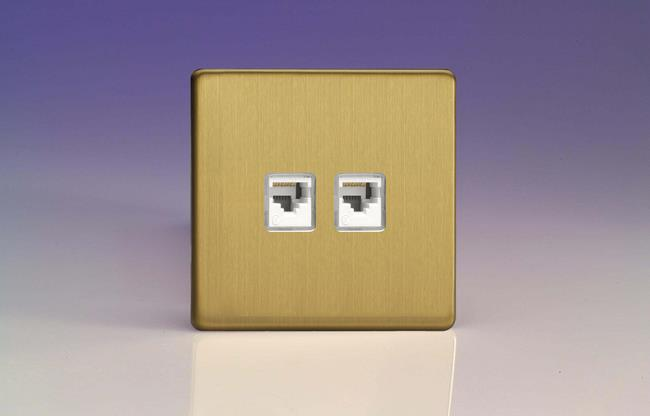 XEBRJ45.45S Varilight European 2 Gang (Double), RJ45 (CAT5/5e) Socket, Dimension Screwless Brushed Brass