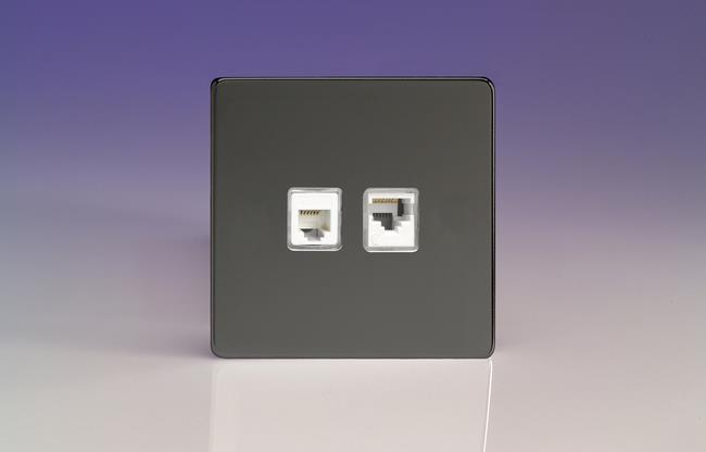 XEIRJ12.45S Varilight European 2 Gang (Double), RJ45 (CAT5/5e) and RJ12 Socket, Dimension Screwless iridium Black