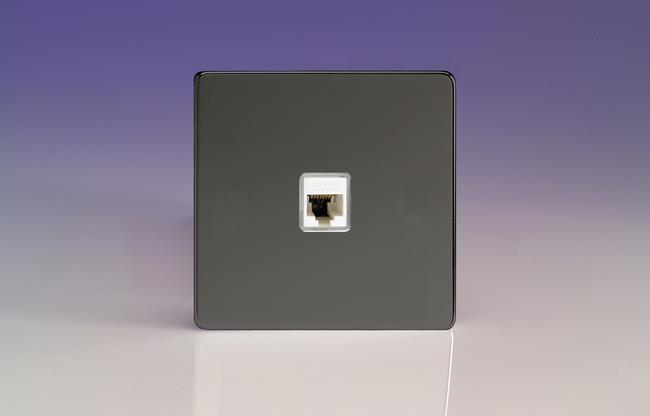 XEIRJ456S Varilight European 1 Gang (Single), RJ456 (CAT6) Socket, Dimension Screwless iridium Black