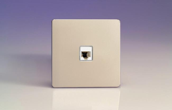 XENRJ456S Varilight European 1 Gang (Single), RJ456 (CAT6) Socket, Dimension Screwless Satin Chrome